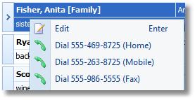 Contact Dial Context Menu